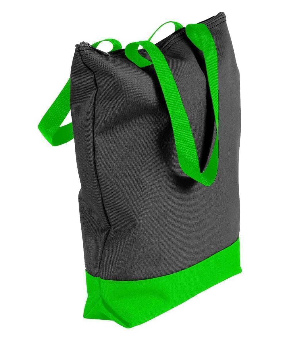 USA Made Canvas Portfolio Tote Bags, Black-Lime, 1AAMX1UAHY