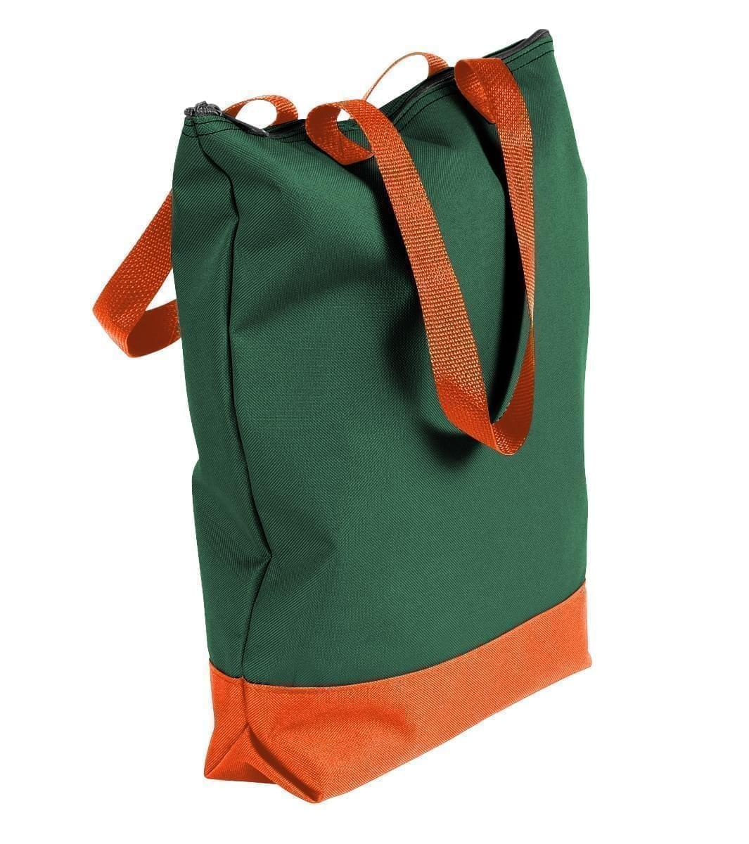 USA Made Canvas Portfolio Tote Bags, Hunter Green-Orange, 1AAMX1UAI0