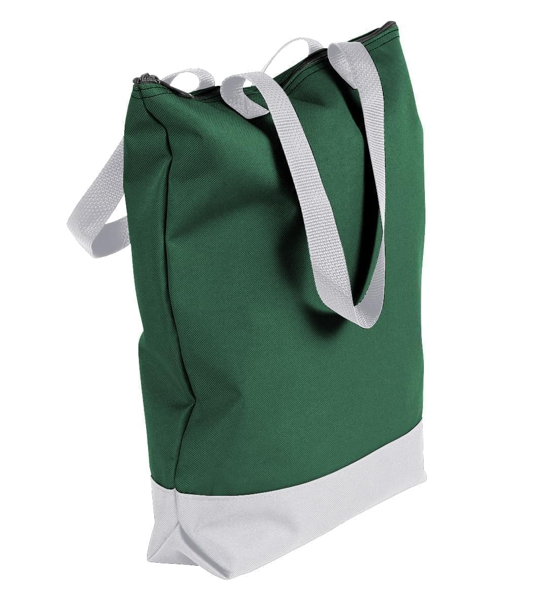 USA Made Canvas Portfolio Tote Bags, Hunter Green-White, 1AAMX1UAI4