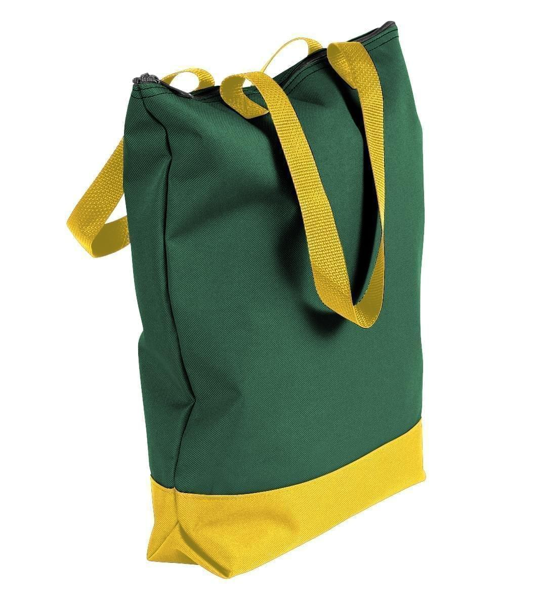 USA Made Canvas Portfolio Tote Bags, Hunter Green-Gold, 1AAMX1UAI5