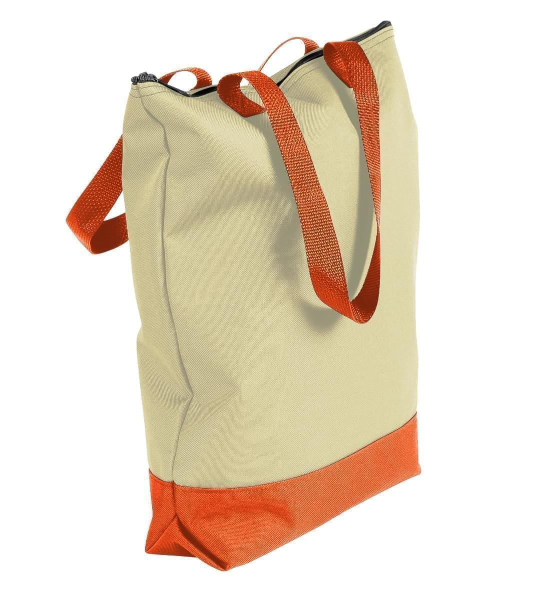 USA Made Canvas Portfolio Tote Bags, Natural-Orange, 1AAMX1UAK0