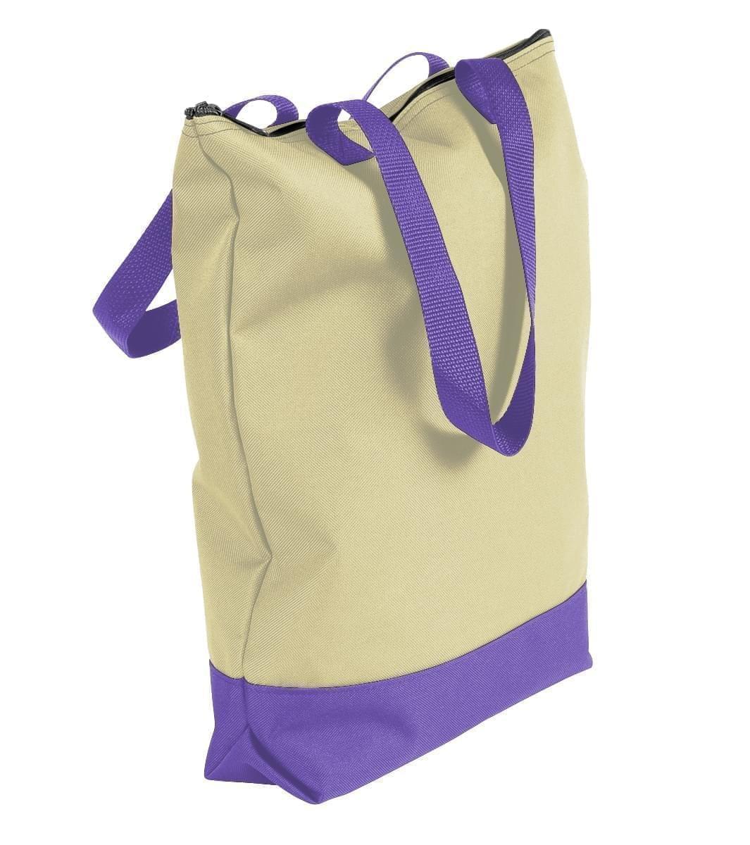 USA Made Canvas Portfolio Tote Bags, Natural-Purple, 1AAMX1UAK1