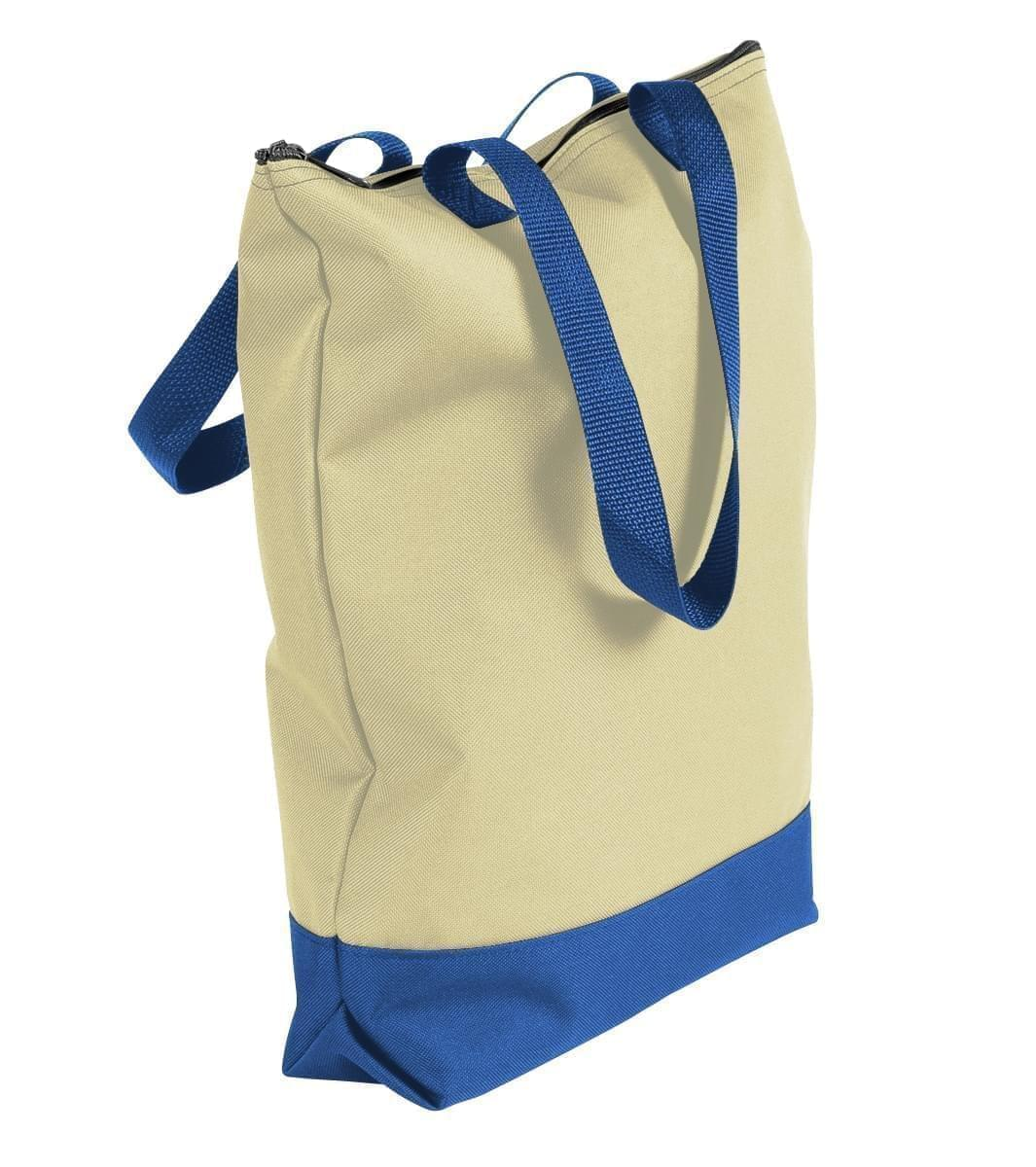USA Made Canvas Portfolio Tote Bags, Natural-Royal Blue, 1AAMX1UAK3