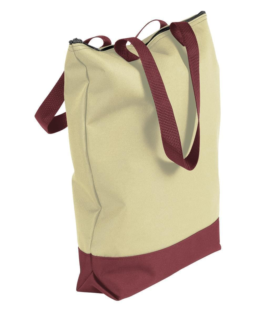 USA Made Canvas Portfolio Tote Bags, Natural-Burgundy, 1AAMX1UAKE