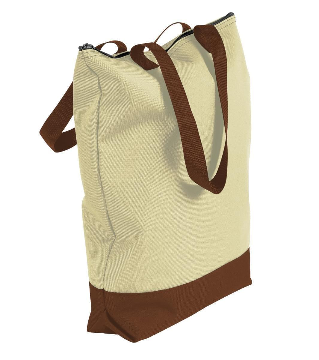 USA Made Canvas Portfolio Tote Bags, Natural-Brown, 1AAMX1UAKS