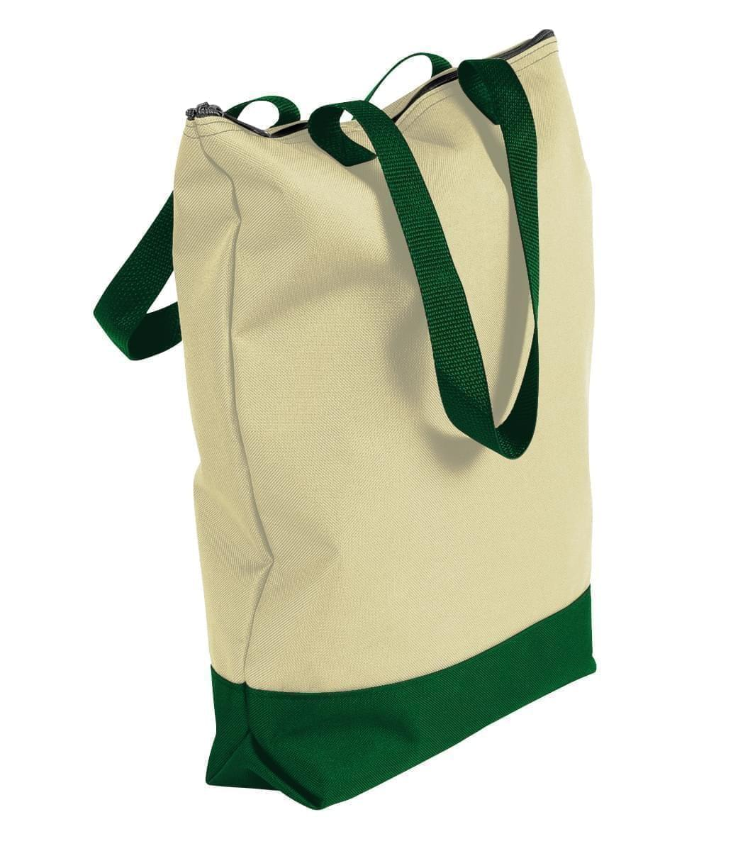 USA Made Canvas Portfolio Tote Bags, Natural-Hunter Green, 1AAMX1UAKV