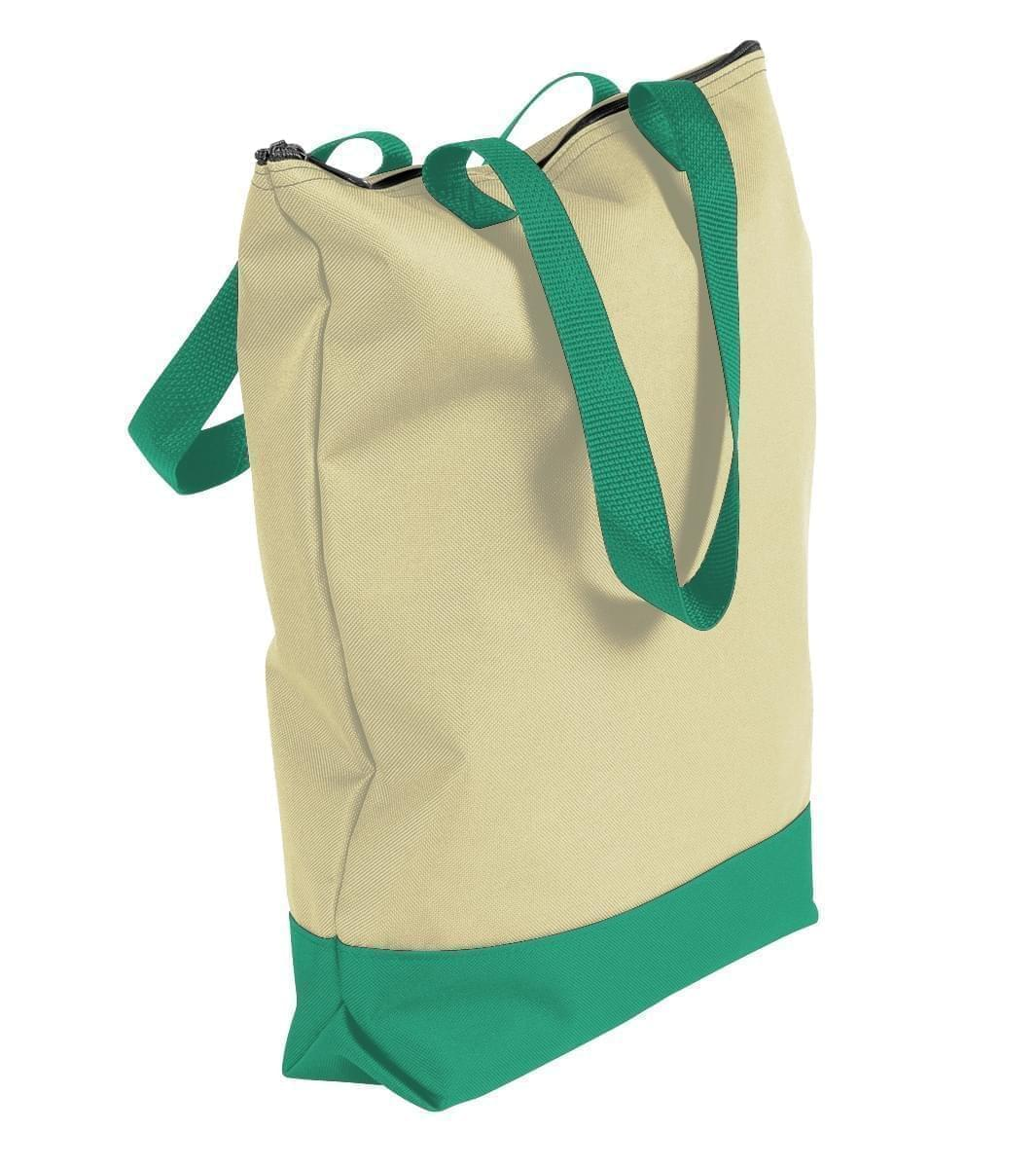 USA Made Canvas Portfolio Tote Bags, Natural-Kelly Green, 1AAMX1UAKW