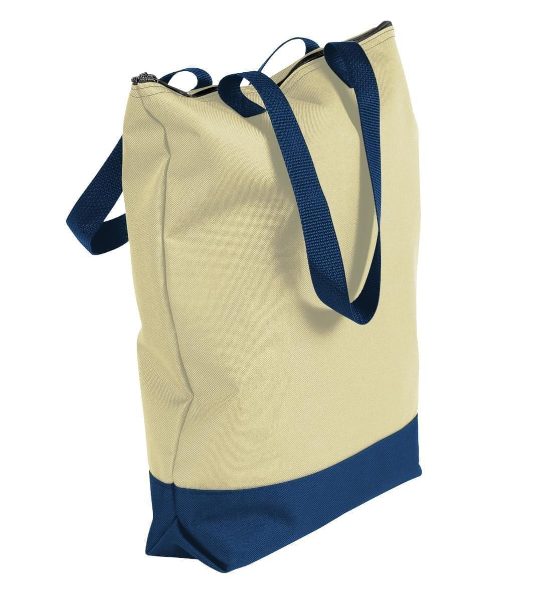 USA Made Canvas Portfolio Tote Bags, Natural-Navy, 1AAMX1UAKZ
