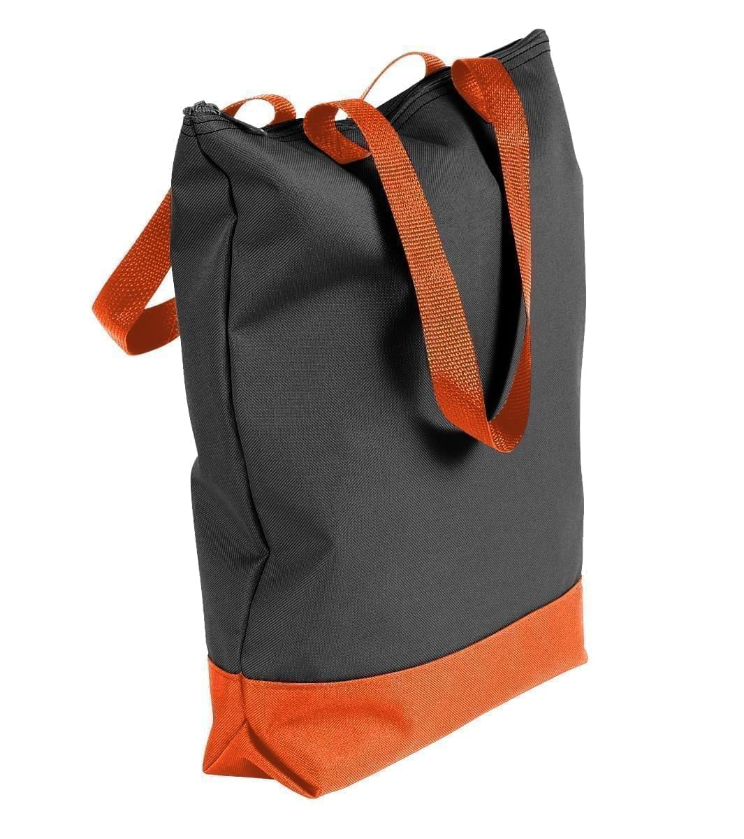USA Made Poly Notebook Tote Bags, Black-Orange, 1AAMX1UAO0