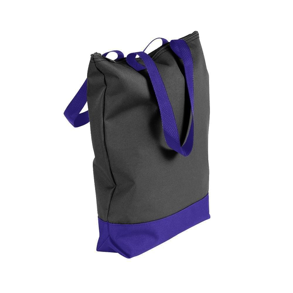 USA Made Poly Notebook Tote Bags, Black-Purple, 1AAMX1UAO1