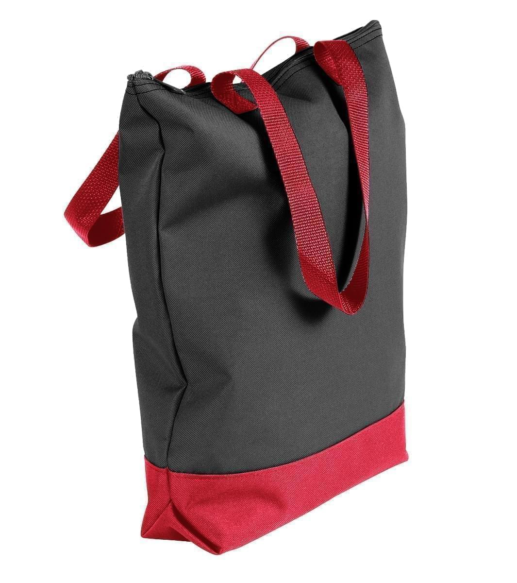 USA Made Poly Notebook Tote Bags, Black-Red, 1AAMX1UAO2