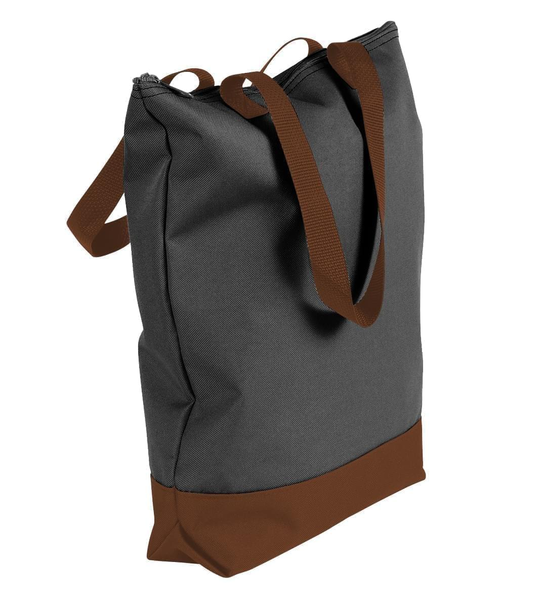 USA Made Poly Notebook Tote Bags, Black-Brown, 1AAMX1UAOS