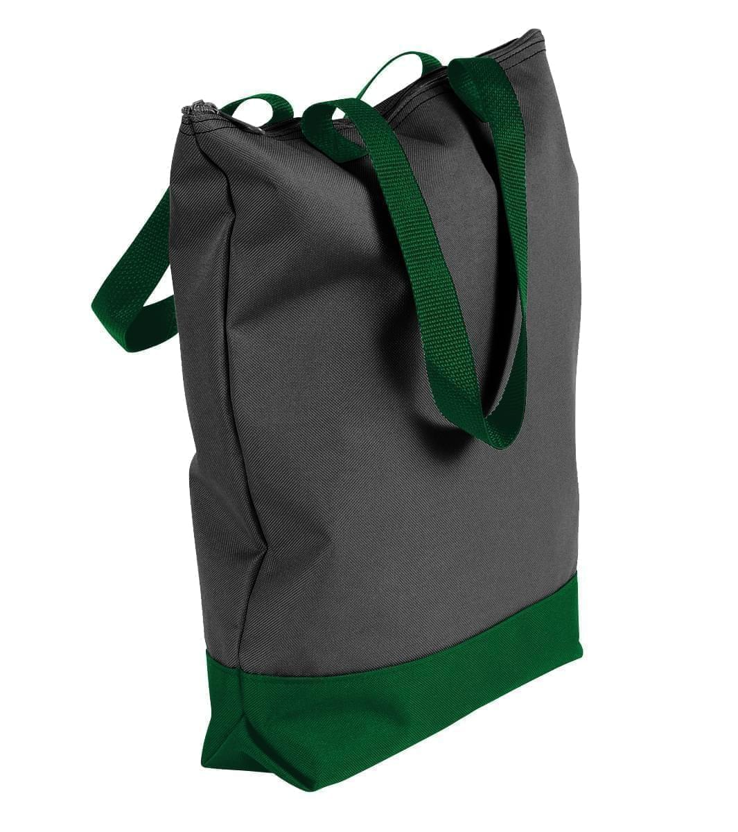 USA Made Poly Notebook Tote Bags, Black-Hunter Green, 1AAMX1UAOV