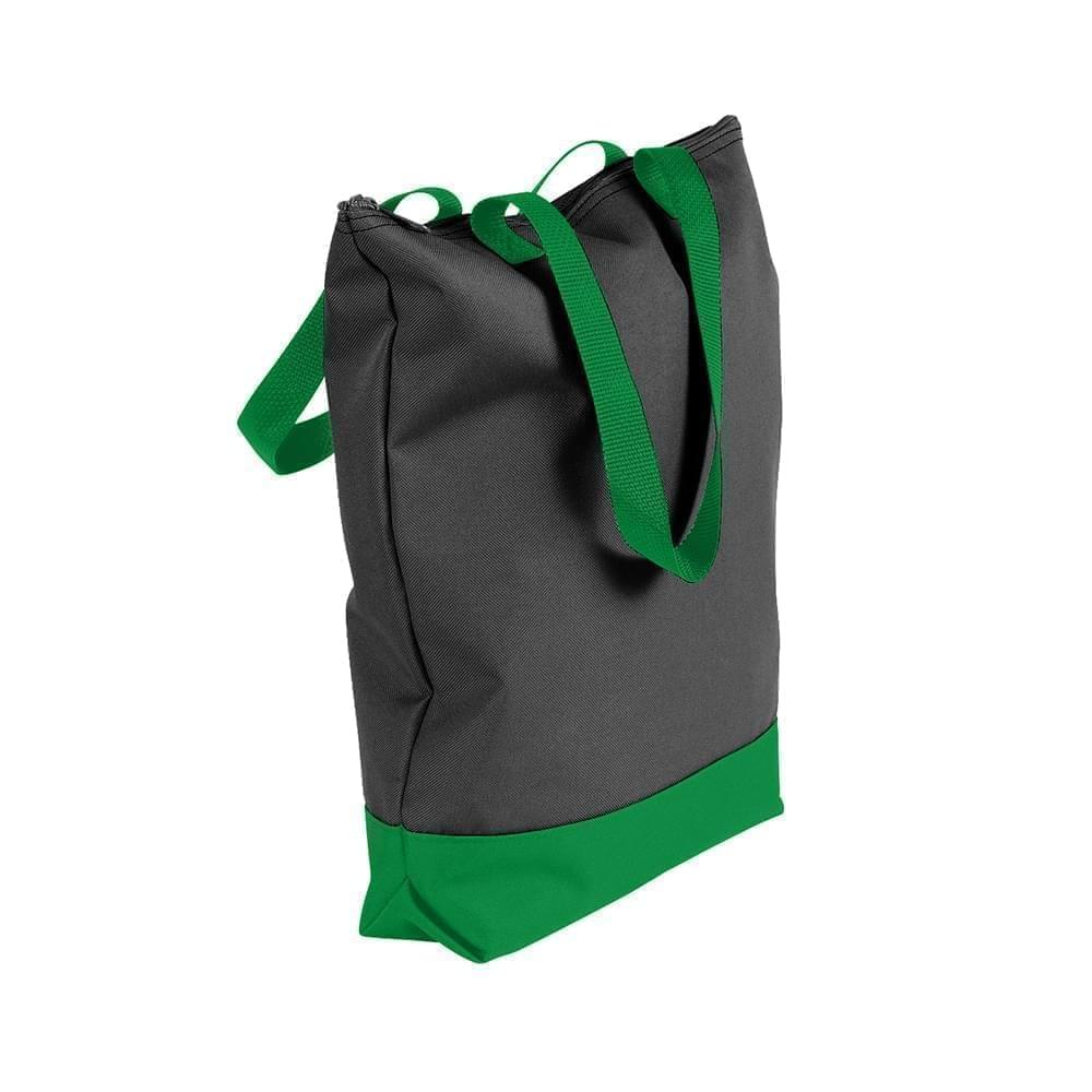 USA Made Poly Notebook Tote Bags, Black-Kelly Green, 1AAMX1UAOW