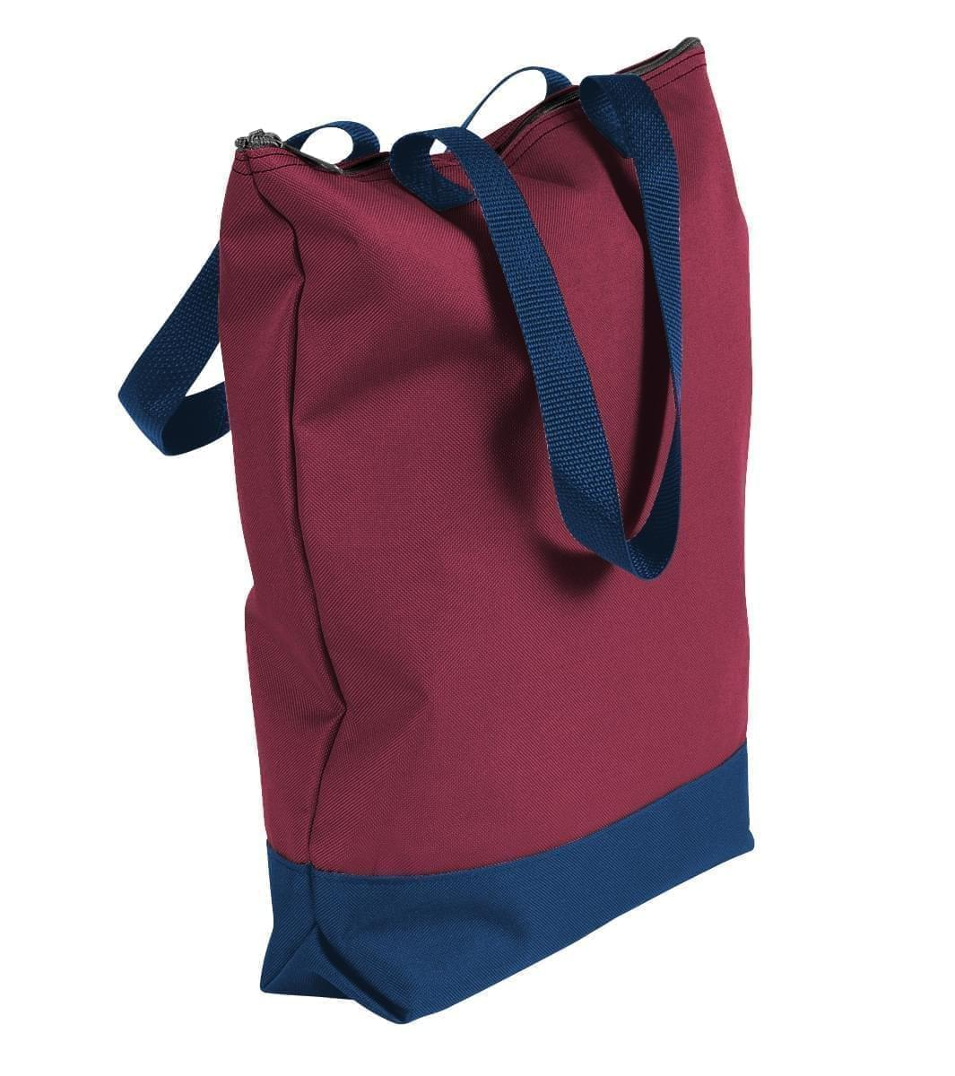 USA Made Poly Notebook Tote Bags, Burgundy-Navy, 1AAMX1UAQZ