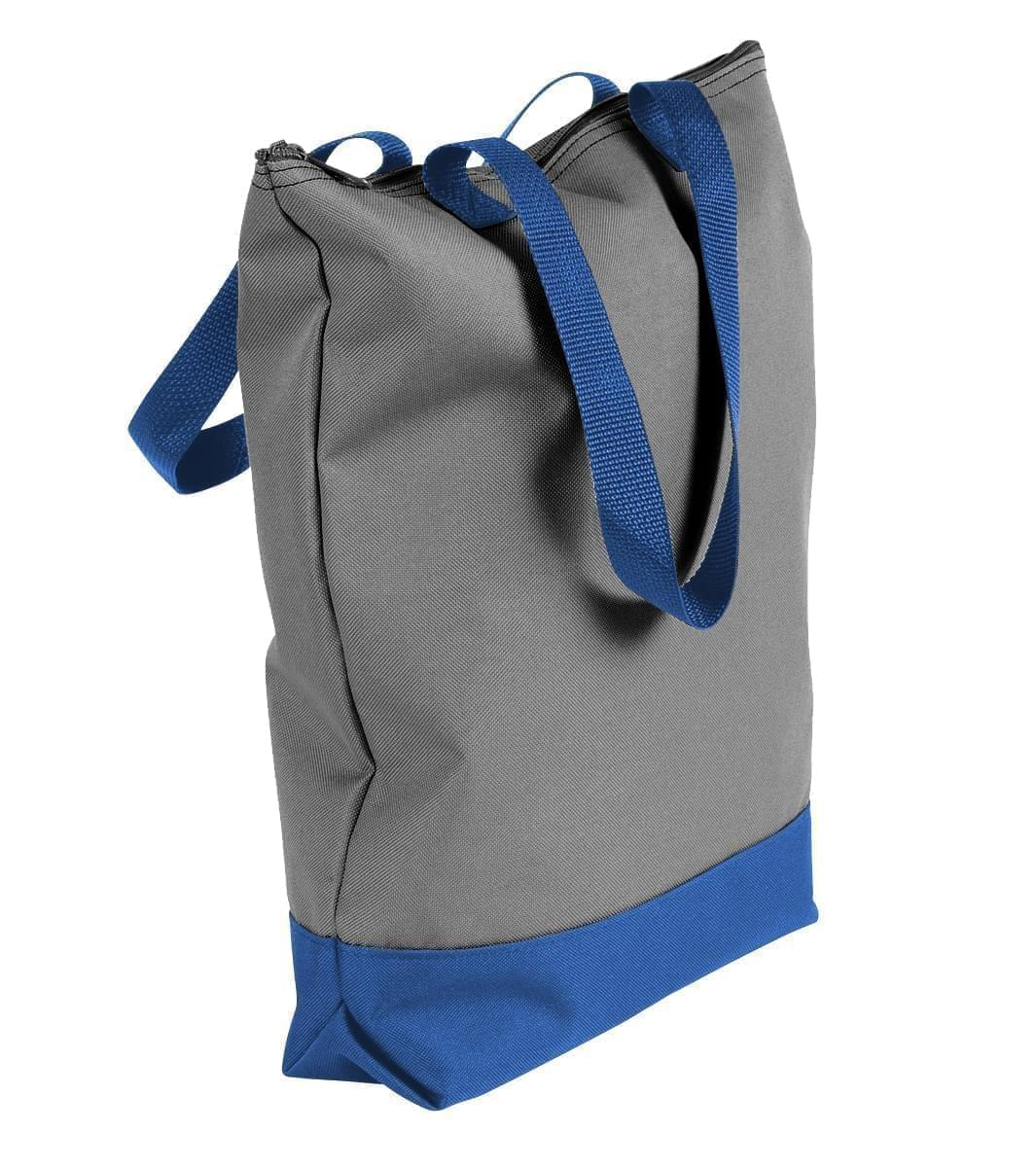 USA Made Poly Notebook Tote Bags, Graphite-Royal Blue, 1AAMX1UAR3