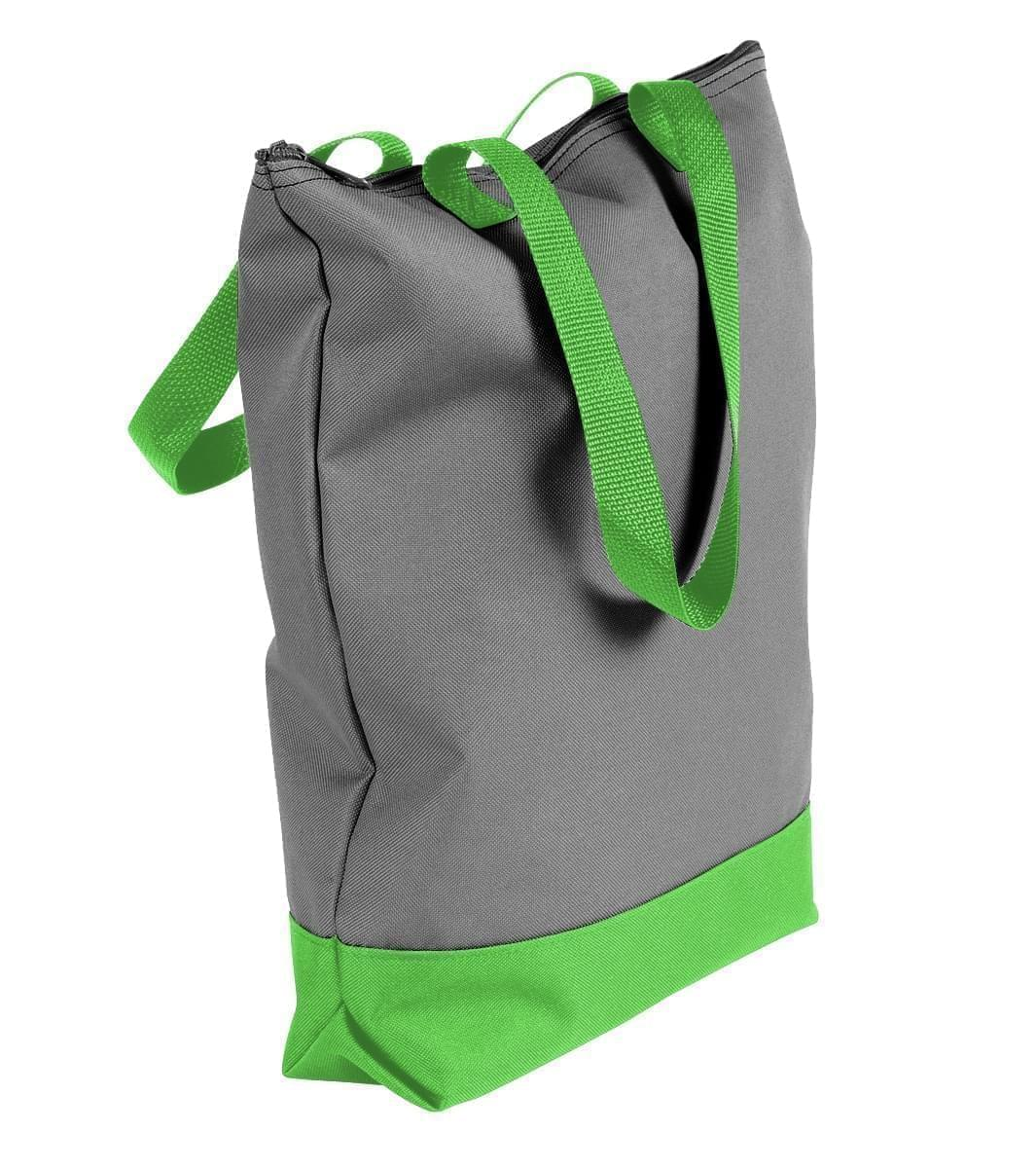 USA Made Poly Notebook Tote Bags, Graphite-Lime, 1AAMX1UARY