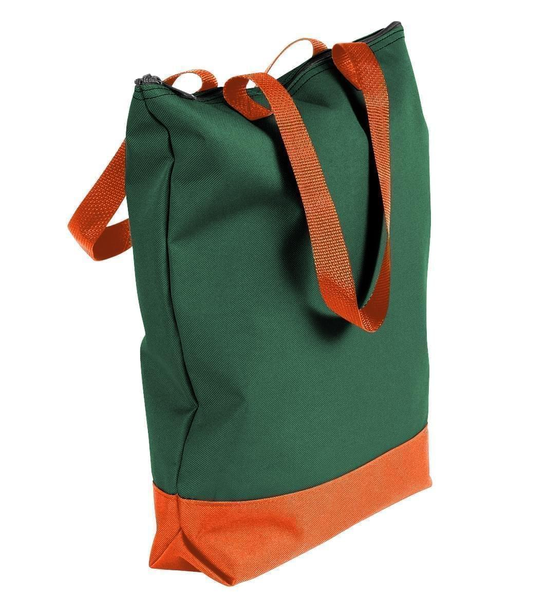 USA Made Poly Notebook Tote Bags, Hunter Green-Orange, 1AAMX1UAS0