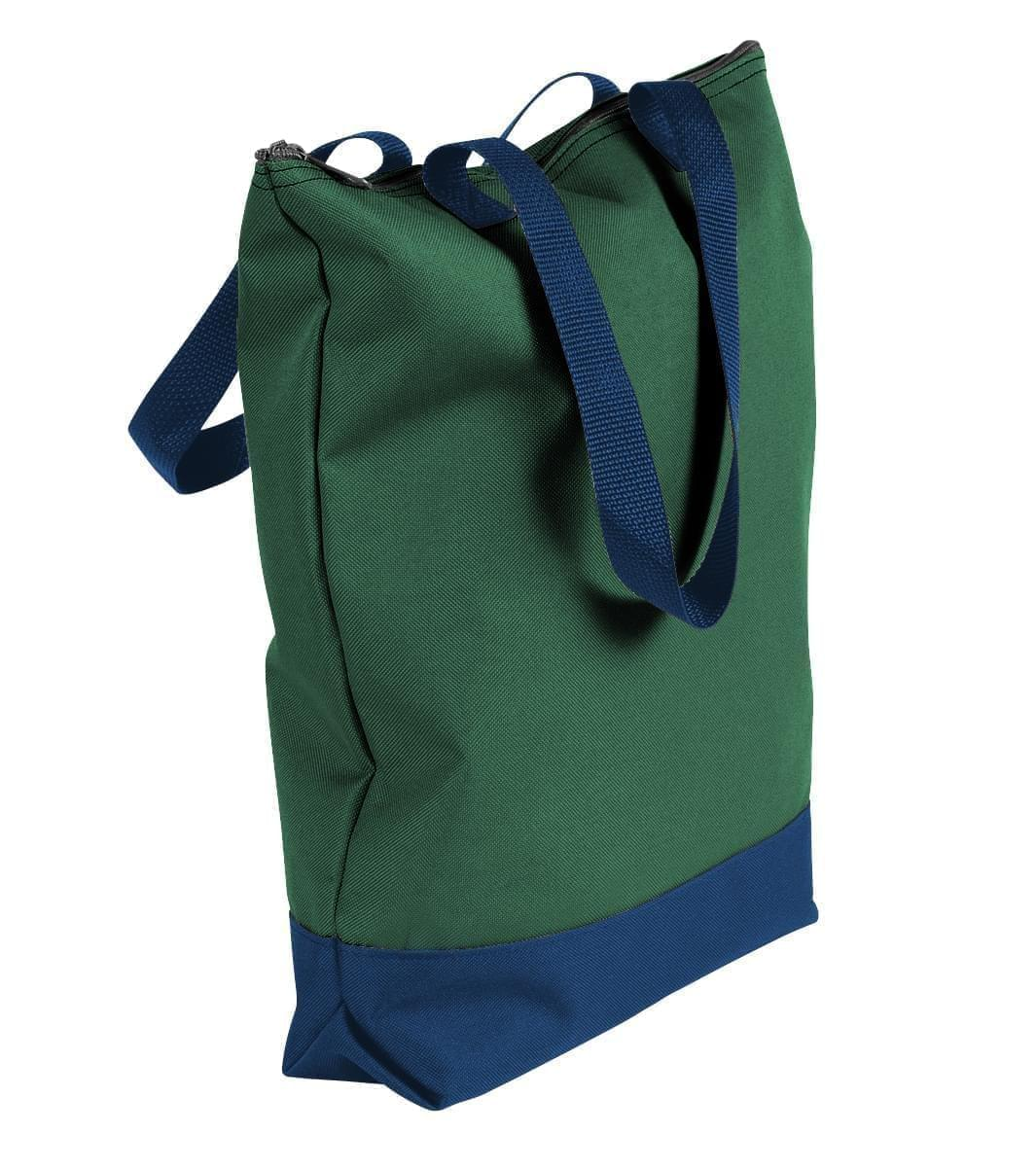 USA Made Poly Notebook Tote Bags, Hunter Green-Navy, 1AAMX1UASZ