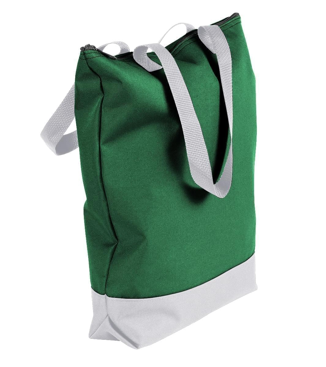 USA Made Poly Notebook Tote Bags, Kelly Green-White, 1AAMX1UAT4