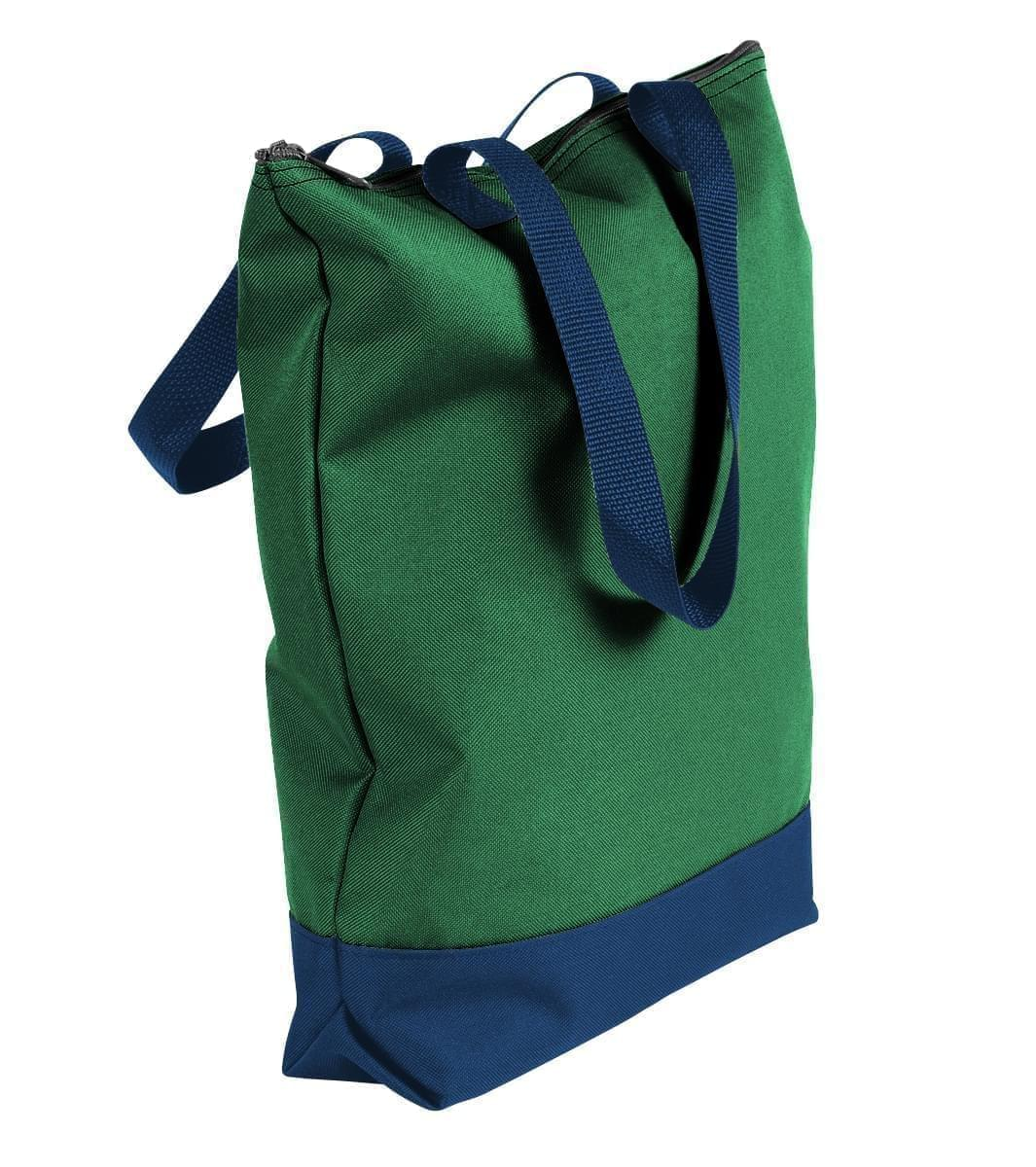 USA Made Poly Notebook Tote Bags, Kelly Green-Navy, 1AAMX1UATZ