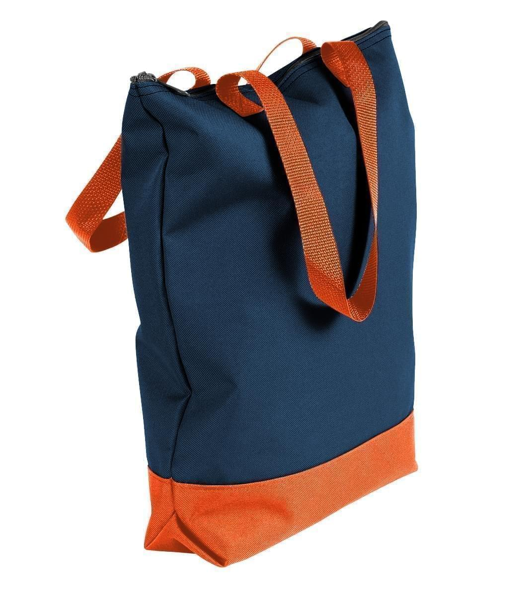 USA Made Poly Notebook Tote Bags, Navy-Orange, 1AAMX1UAW0