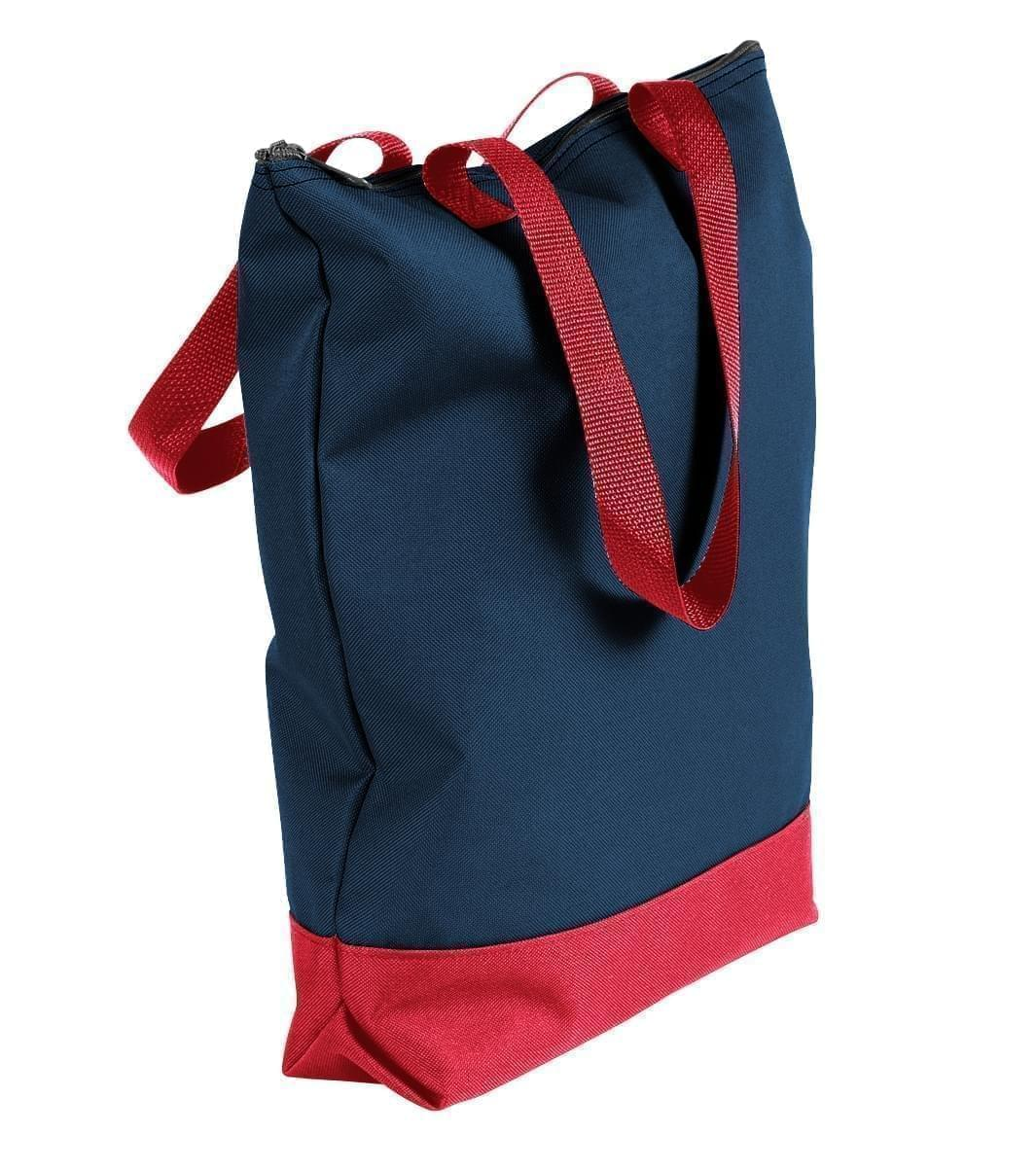 USA Made Poly Notebook Tote Bags, Navy-Red, 1AAMX1UAW2