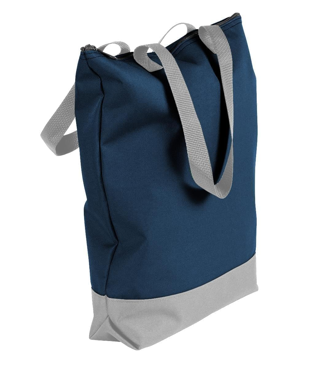 USA Made Poly Notebook Tote Bags, Navy-Grey, 1AAMX1UAWU