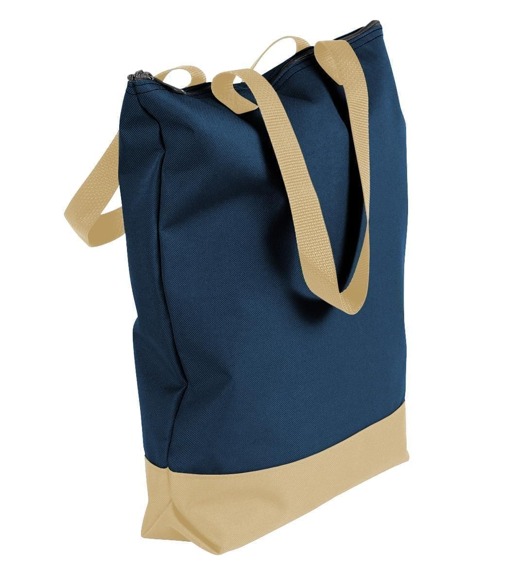 USA Made Poly Notebook Tote Bags, Navy-Khaki, 1AAMX1UAWX