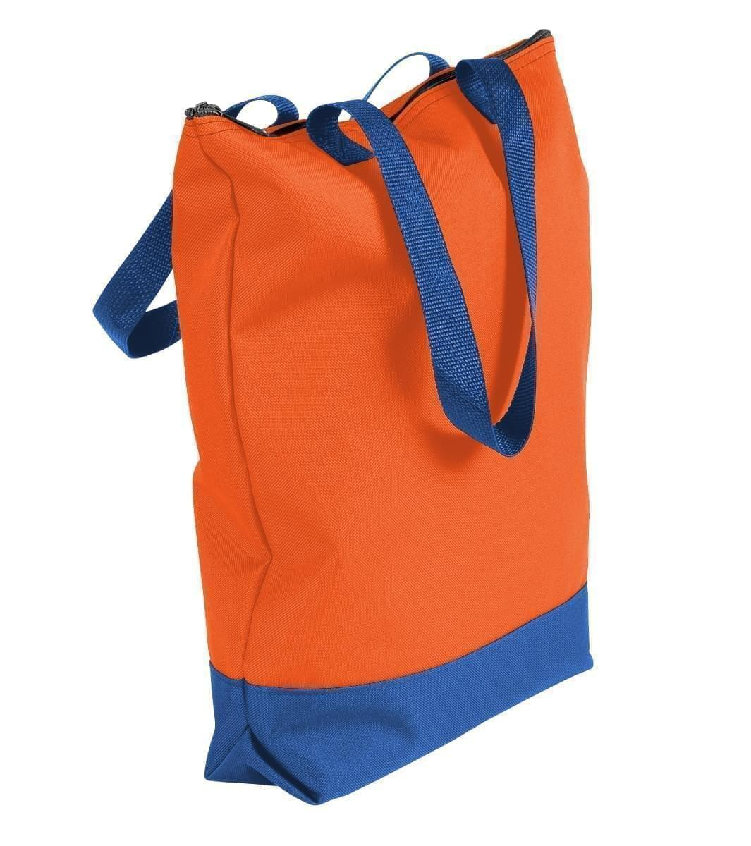 USA Made Poly Notebook Tote Bags, Orange-Royal Blue, 1AAMX1UAX3