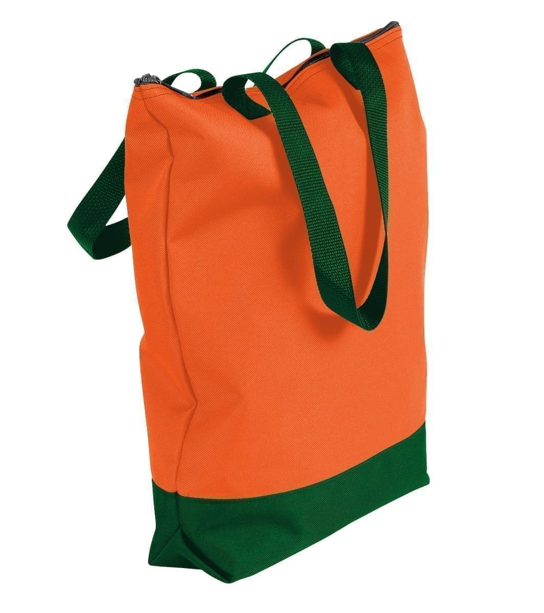 USA Made Poly Notebook Tote Bags, Orange-Hunter Green, 1AAMX1UAXV
