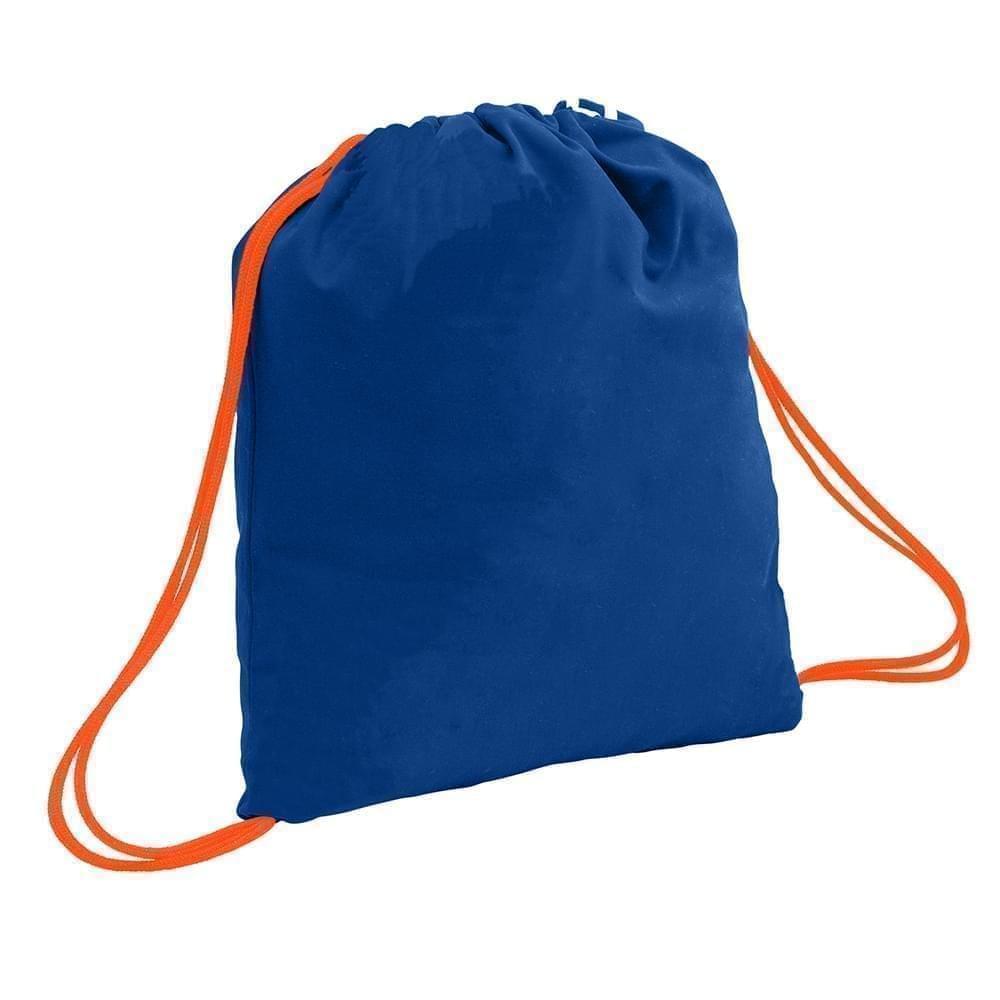 USA Made 200 D Nylon Drawstring Backpacks, Royal-Orange, 2001744-T00