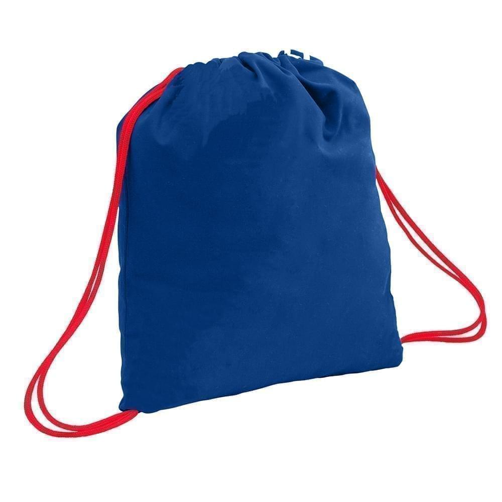 USA Made 200 D Nylon Drawstring Backpacks, Royal-Red, 2001744-T02