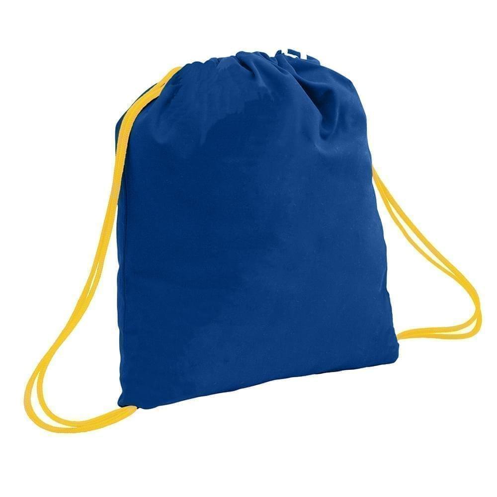 USA Made 200 D Nylon Drawstring Backpacks, Royal-Gold, 2001744-T05