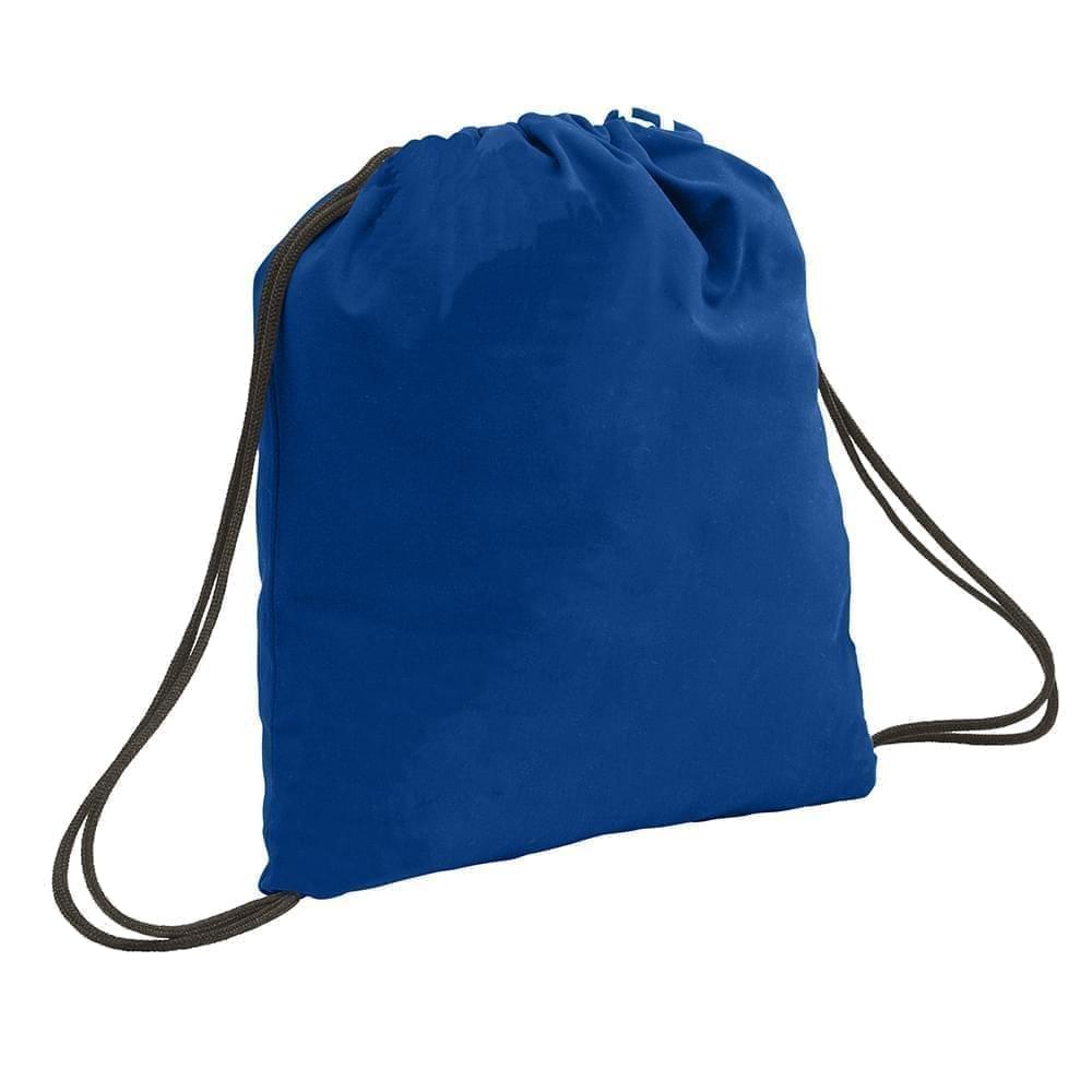 USA Made 200 D Nylon Drawstring Backpacks, Royal-Black, 2001744-T0R