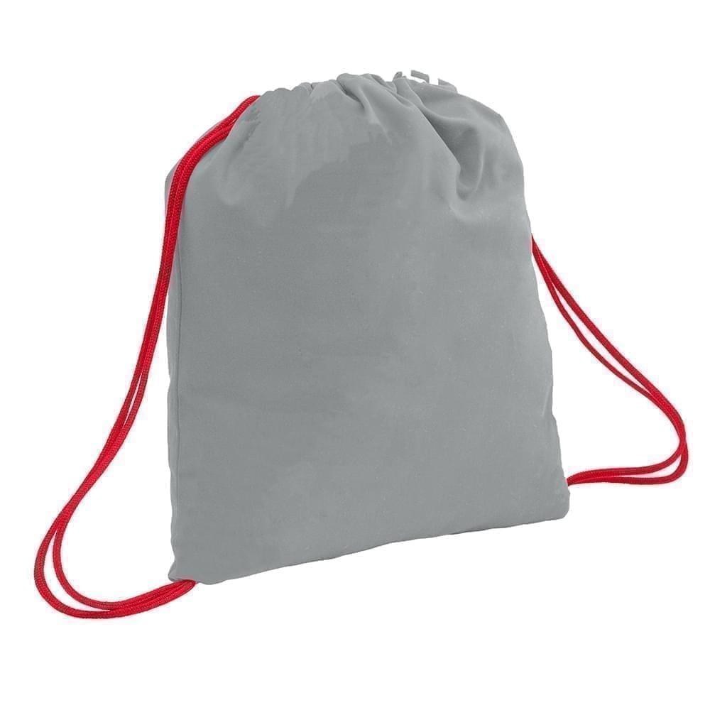 USA Made 200 D Nylon Drawstring Backpacks, Gray-Red, 2001744-T12