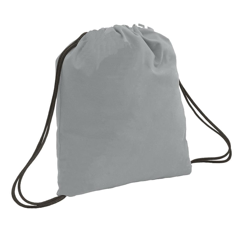 USA Made 200 D Nylon Drawstring Backpacks, Gray-Black, 2001744-T1R