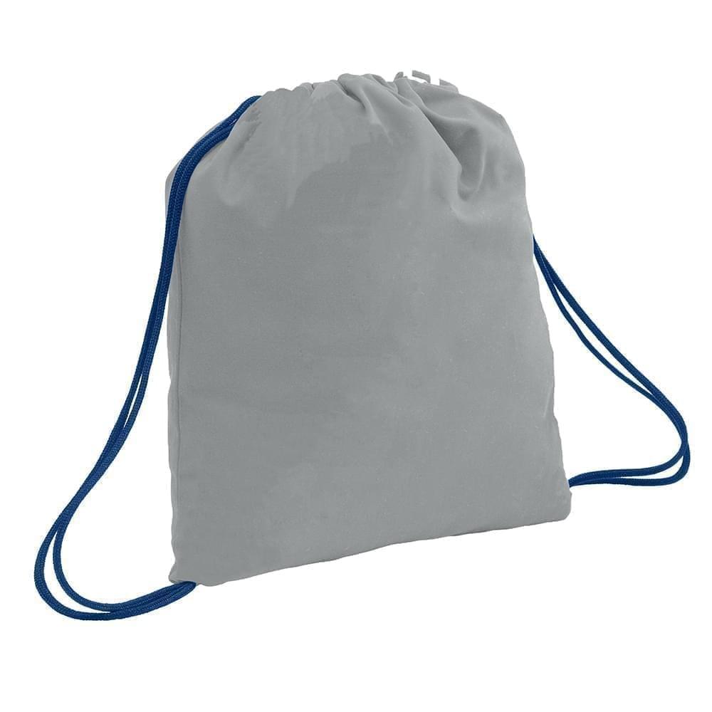 USA Made 200 D Nylon Drawstring Backpacks, Gray-Navy, 2001744-T1Z