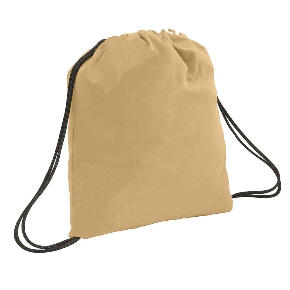 USA Made 200 D Nylon Drawstring Backpacks, Khaki-Black, 2001744-T2R