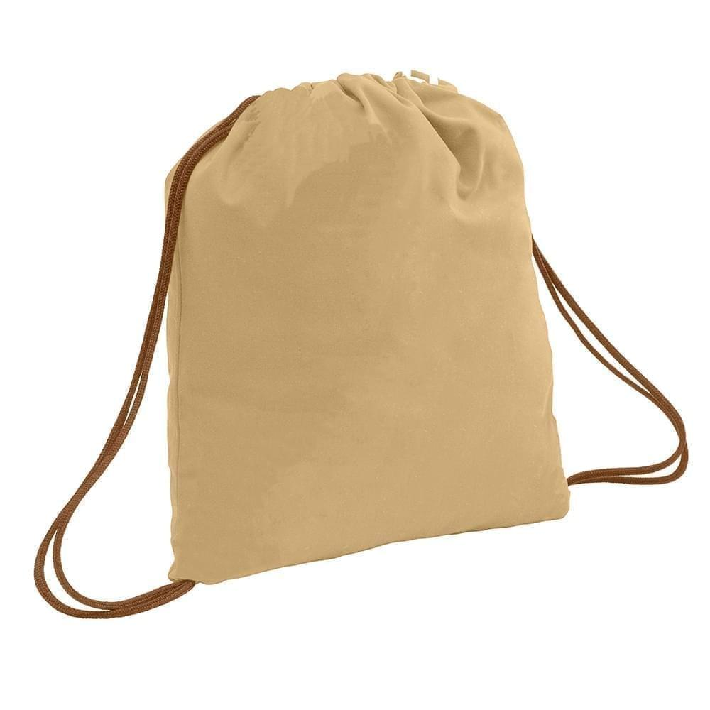 USA Made 200 D Nylon Drawstring Backpacks, Khaki-Brown, 2001744-T2S