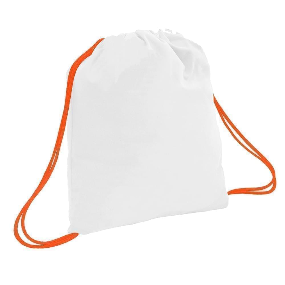 USA Made 200 D Nylon Drawstring Backpacks, White-Orange, 2001744-T30
