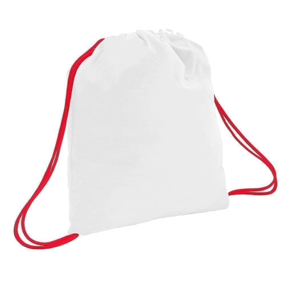 USA Made 200 D Nylon Drawstring Backpacks, White-Red, 2001744-T32
