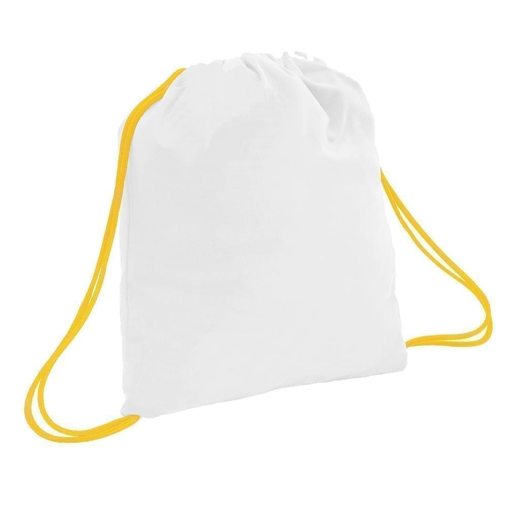 USA Made 200 D Nylon Drawstring Backpacks, White-Gold, 2001744-T35