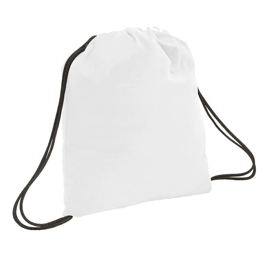 USA Made 200 D Nylon Drawstring Backpacks, White-Black, 2001744-T3R