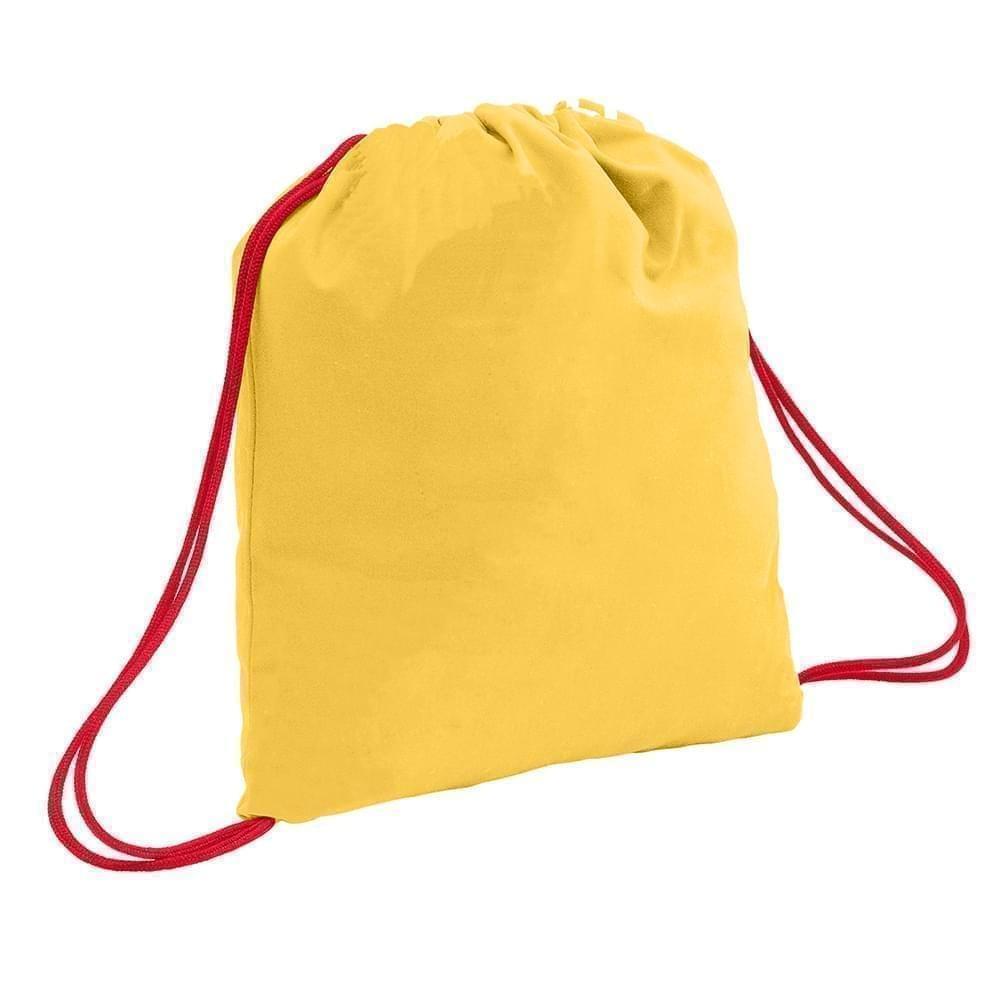 USA Made 200 D Nylon Drawstring Backpacks, Gold-Red, 2001744-T42