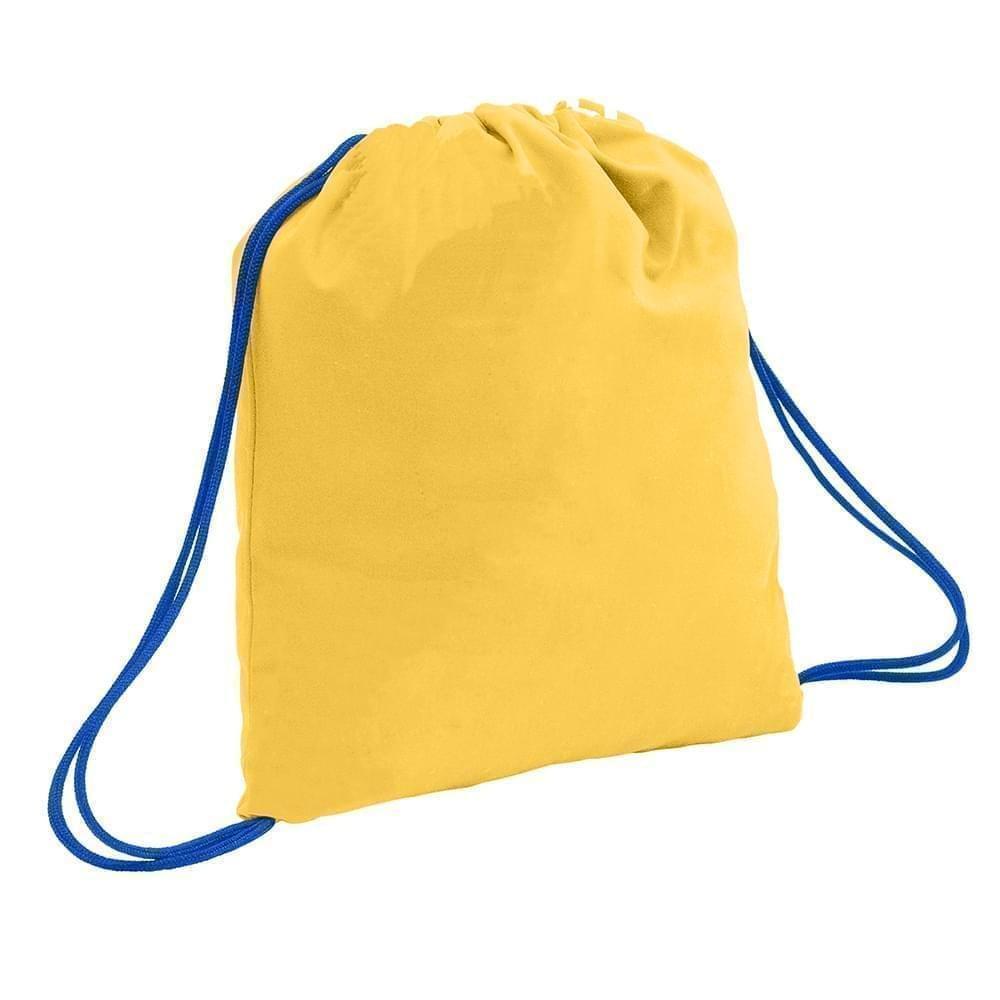 USA Made 200 D Nylon Drawstring Backpacks, Gold-Royal, 2001744-T43