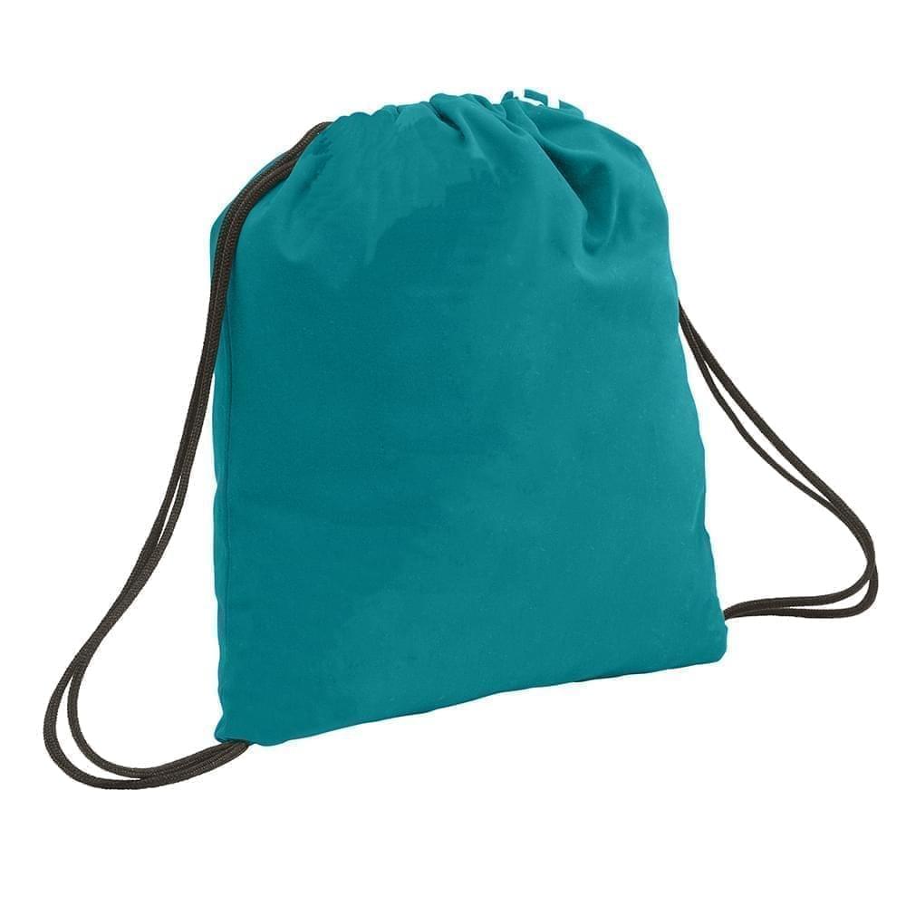 USA Made 200 D Nylon Drawstring Backpacks, Turquoise-Black, 2001744-T9R