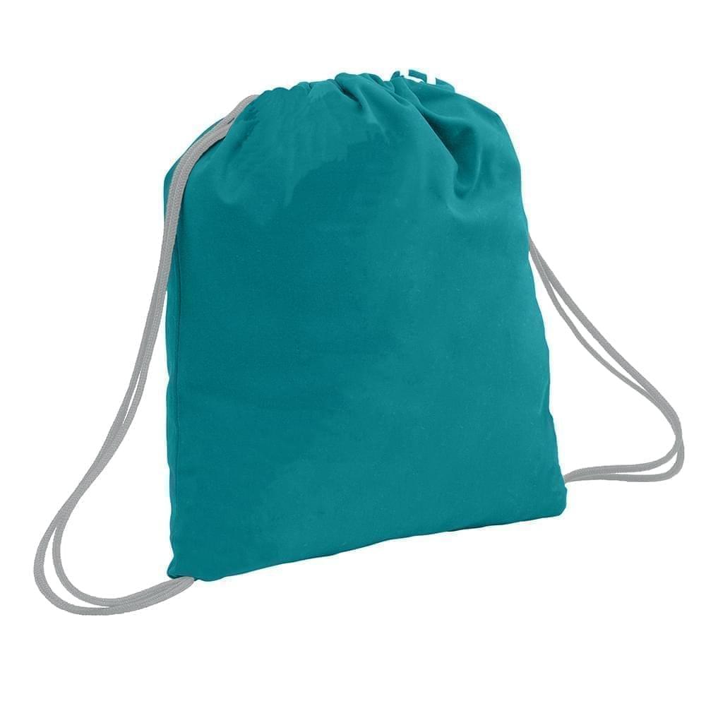 USA Made 200 D Nylon Drawstring Backpacks, Turquoise-Gray, 2001744-T9U