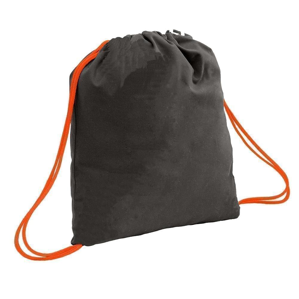 USA Made 200 D Nylon Drawstring Backpacks, Black-Orange, 2001744-TO0