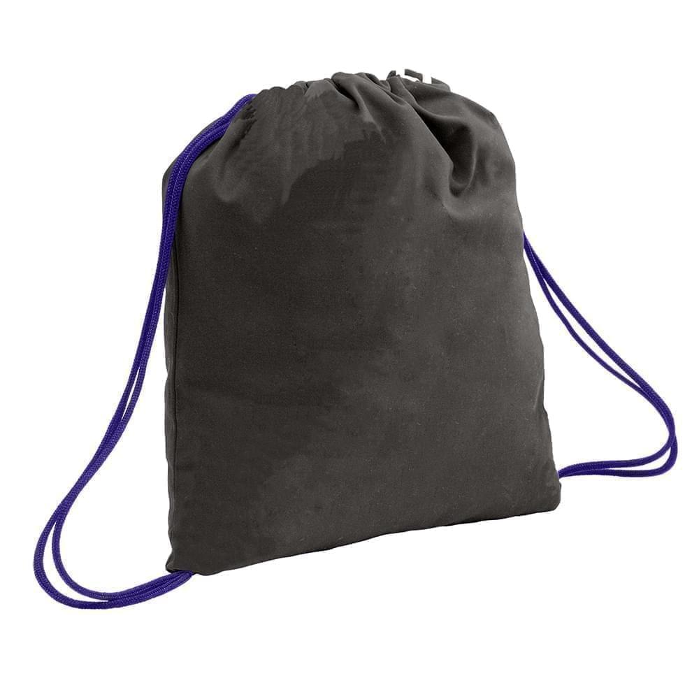 USA Made 200 D Nylon Drawstring Backpacks, Black-Purple, 2001744-TO1